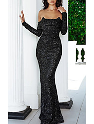 cheap -Sheath / Column Sparkle & Shine Formal Evening Dress Spaghetti Strap Long Sleeve Sweep / Brush Train Sequined with Sequin 2020