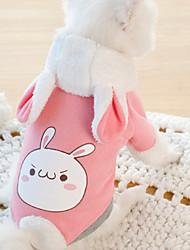 abordables -Chien Manteaux Combinaison-pantalon Rabbit Hiver Vêtements pour Chien Rose Costume Flanelle Lapin Cosplay XS S M L XL XXL