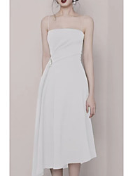 cheap -A-Line Spaghetti Strap Knee Length Polyester Bridesmaid Dress with Ruching