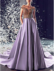 cheap -A-Line Boat Neck Court Train Satin Open Back Formal Evening Dress with Appliques / Lace Insert 2020