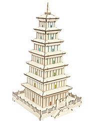 Недорогие -3D пазлы Деревянные пазлы Башня Китайская архитектура моделирование Ручная работа деревянный 132 pcs Детские Взрослые Все Игрушки Подарок