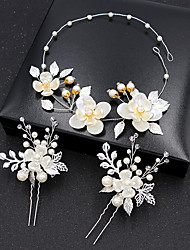 cheap -Alloy Head Chain with Flower 3 Pieces Wedding / Special Occasion Headpiece