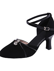 cheap -Women's Modern Shoes Ballroom Shoes Line Dance Heel Crystal / Rhinestone Cuban Heel Black