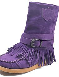 cheap -Women's Boots Flat Heel Round Toe Tassel Synthetics Mid-Calf Boots Classic / Vintage Winter / Fall & Winter Black / Purple / Blue / Party & Evening