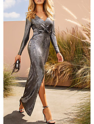 cheap -Sheath / Column Plunging Neck Sweep / Brush Train Sequined Dress with Sequin / Split Front / Pleats by LAN TING Express