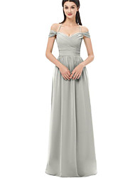 cheap -A-Line Halter Neck Floor Length Chiffon Bridesmaid Dress with Ruching / Bandage