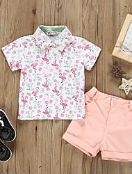 cheap -Kids Boys' Basic Cartoon Short Sleeve Clothing Set Blushing Pink