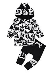 baratos -bebê Para Meninas Moda de Rua Estampado Manga Longa Padrão Conjunto Preto