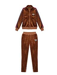 abordables -Femme 2 Pièces Velours Tee-shirt et Pantalons de Course Running 2pcs Hiver Yoga Course / Running Pilates Chaud Vestimentaire Tenue de sport Survêtement Ensembles de Sport Manches Longues Tenues de