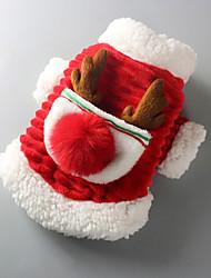 baratos -Cachorros Casacos Inverno Roupas para Cães Vermelho Ocasiões Especiais Pêlo de Cordeiro Retalhos Fantasias Natal XS S M L XL XXL