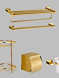 cheap -Bathroom Accessory Set Contemporary Brass 5pcs - Hotel bath Toilet Paper Holders / tower bar / Bathroom Shelf