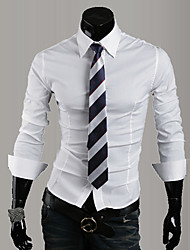 cheap -Men's Daily Work Business / Basic Shirt - Solid Colored Black