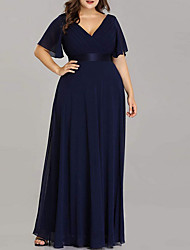 cheap -A-Line Plunging Neck Floor Length Chiffon Bridesmaid Dress with Ruching / Open Back