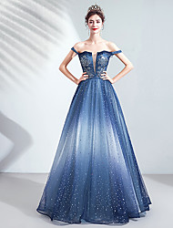 cheap -A-Line Sparkle & Shine Prom Dress Off Shoulder Short Sleeve Floor Length Tulle with Sequin Appliques 2020