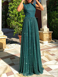 cheap -A-Line Open Back Prom Dress Boat Neck Sleeveless Floor Length Tulle with Sequin 2020