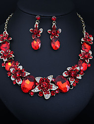 cheap -Women's Clear Blue Red AAA Cubic Zirconia Collar Necklace Chandelier Heart Fashion Elegant Earrings Jewelry Burgundy For Wedding Engagement Holiday 1 set