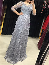 cheap -A-Line Elegant Formal Evening Dress Jewel Neck 3/4 Length Sleeve Floor Length Lace with Beading Appliques 2020