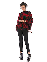 cheap -Women's Color Block Long Sleeve Cloak / Capes Sweater Jumper, Bateau Fall / Winter Black / Wine / White One-Size