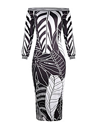 cheap -Women's Date Dress Elegant Bodycon Dress - Geometric Tie Dye Black & White Tropical Leaf, Patchwork Black Wine Blue S M L XL