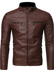cheap -Men's Daily Regular Leather Jacket, Solid Colored Stand Long Sleeve Polyester Black / Brown / Khaki