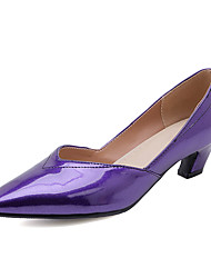 cheap -Women's Heels Low Heel Pointed Toe PU Classic / British Spring &  Fall Black / Purple / Yellow / Party & Evening