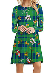 cheap -Women's A Line Dress - Plaid Red Green S M L XL