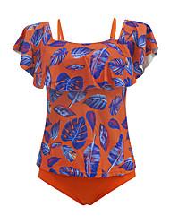 abordables -Femme Basique Orange Vert Slip Brésilien Deux-pièces Maillots de Bain - Fleur Géométrique Couleur Pleine A Volants Imprimé S M L Orange