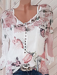 cheap -Women's Daily Blouse - Floral White