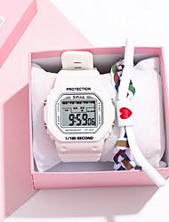 Недорогие -Жен. электронные часы Новое поступление Мода Черный Белый Зеленый Pезина Цифровой Черный Белый Зеленый Секундомер Новый дизайн Ударопрочный 2шт Цифровой