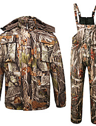 cheap -Men's Hunting Jacket with Pants Hunting Suit Outdoor Fleece Lining Warm Thick Wear Resistance Autumn / Fall Winter Camo Hoodie Jacket and Pants Clothing Suit Cotton 100% Polyester Hunting Fishing