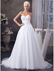 cheap -A-Line Wedding Dresses Sweetheart Neckline Court Train Organza Satin Strapless with Ruched Beading Draping 2020