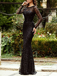 cheap -Mermaid / Trumpet Sparkle Black Engagement Formal Evening Dress Jewel Neck Long Sleeve Floor Length Tulle Sequined with Sequin 2020