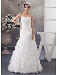 cheap -A-Line Wedding Dresses Sweetheart Neckline Floor Length Organza Satin Strapless with Ruched Cascading Ruffles 2020