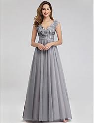 cheap -A-Line Elegant Formal Evening Dress V Neck Short Sleeve Floor Length Nylon Spandex Tulle with Appliques 2020