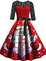 cheap -Women's Christmas Party / Evening Basic Sophisticated Sheath Swing Dress - Polka Dot Santa Claus, Lace Lace up Red S M L XL