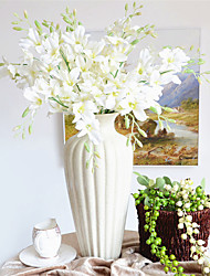 cheap -Elegant White Artificial Silk Flower Small Orchids Living Room Ornament Flowers For Wedding Bouquet