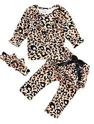 baratos -bebê Para Meninas Moda de Rua Leopardo Manga Longa Padrão Conjunto Marron