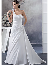 cheap -A-Line Wedding Dresses One Shoulder Court Train Satin Spaghetti Strap with Ruched Beading Side-Draped 2020