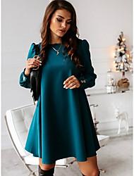 cheap -Women's Shift Dress - Long Sleeve Solid Colored Button Casual White Black Purple Red Green S M L XL XXL XXXL