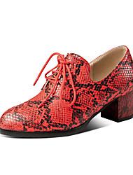 cheap -Women's Heels Chunky Heel Round Toe Snakeskin Vintage / Casual Spring & Summer Brown / White / Green