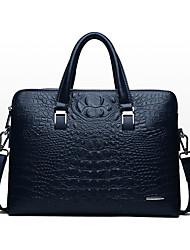 cheap -Men's Bags PU Leather Laptop Bag Briefcase Top Handle Bag Belt Zipper Crocodile Handbags Date Outdoor Black Blue