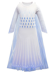 cheap -Princess Elsa Dress Flower Girl Dress Girls' Movie Cosplay A-Line Slip Halloween Christmas White Dress Halloween / Bell Sleeve