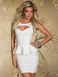 cheap -Women's Mini Bodycon Dress - Sleeveless Solid Colored Slim White Black Blushing Pink M L XL