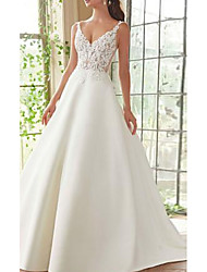 cheap -A-Line V Neck Court Train Lace / Satin Spaghetti Strap Wedding Dresses with Appliques 2020