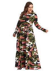 cheap -Women's Chiffon Dress - Rainbow Army Green Gray L XL XXL XXXL