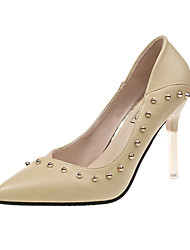 cheap -Women's Heels Stiletto Heel Pointed Toe Rivet Faux Leather / PU Casual / Minimalism Spring &  Fall / Spring & Summer Black / Green / Beige