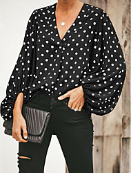 cheap -Women's Going out Shirt - Polka Dot Black