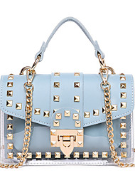 cheap -Women's Rivet / Chain Polyester / PU Top Handle Bag Leather Bags Solid Color White / Black / Blue / Fall & Winter