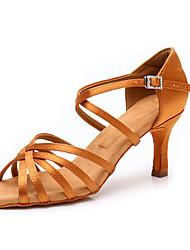cheap -Women's Dance Shoes Satin Latin Shoes / Salsa Shoes Buckle Heel Cuban Heel Customizable Black / Dark Brown / White