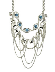 cheap -Women's Layered Necklace Geometrical Eyes Evil Eye Punk Fashion Modern Victorian Chrome Black Silver 49.8 cm Necklace Jewelry 1pc For Gift Carnival Prom Promise Festival
